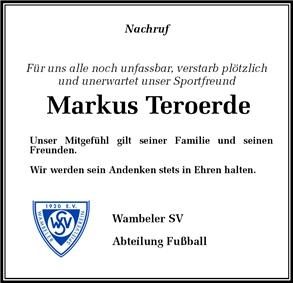 Nachruf: Der Wambeler SV nimmt Abschied von Markus Teroerde
